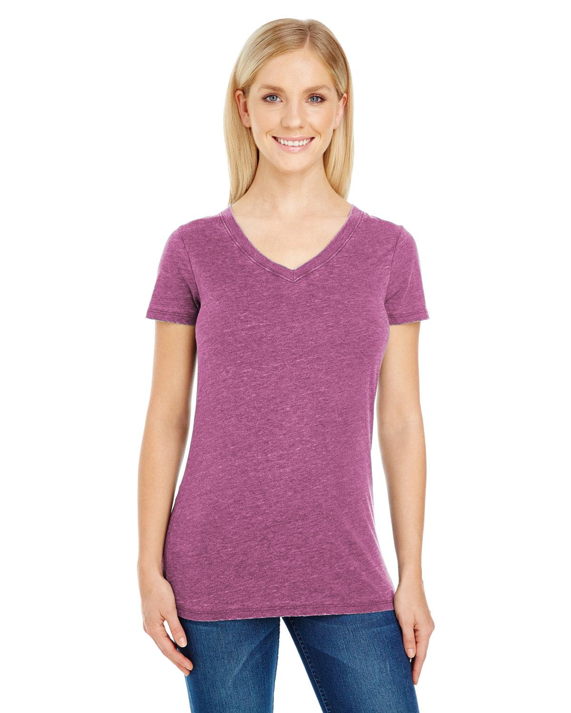 Threadfast Apparel Ladies' Vintage Dye Short-Sleeve V-Neck T-Shirt VINTAGE WINE