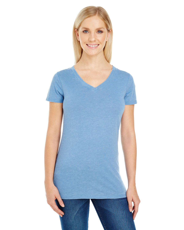 Threadfast Apparel Ladies' Vintage Dye Short-Sleeve V-Neck T-Shirt VINTAGE DENIM