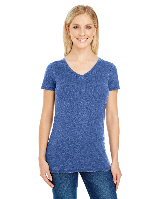 Threadfast Apparel Ladies' Vintage Dye Short-Sleeve V-Neck T-Shirt VINTAGE NAVY