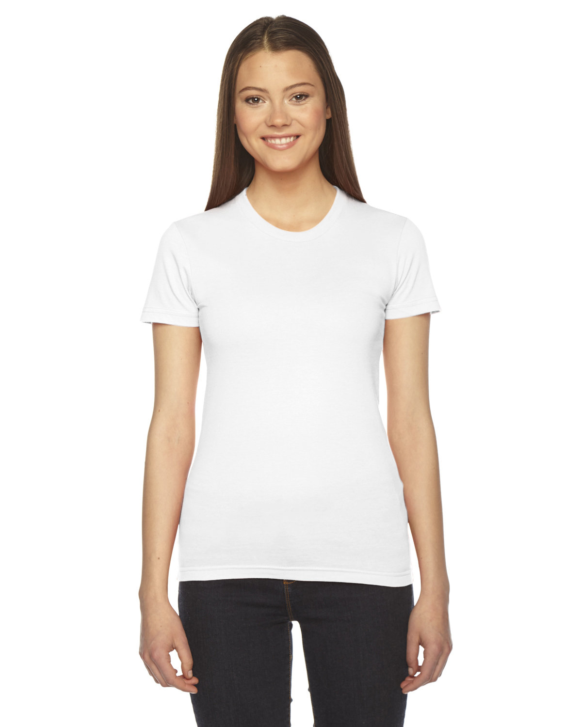 American Apparel Ladies' Fine Jersey USA Made Short-Sleeve T-Shirt WHITE