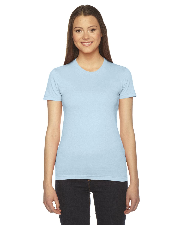 American Apparel Ladies' Fine Jersey USA Made Short-Sleeve T-Shirt LIGHT BLUE