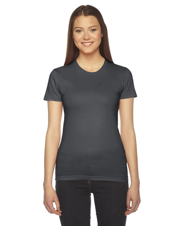 American Apparel Ladies' Fine Jersey USA Made Short-Sleeve T-Shirt ASPHALT
