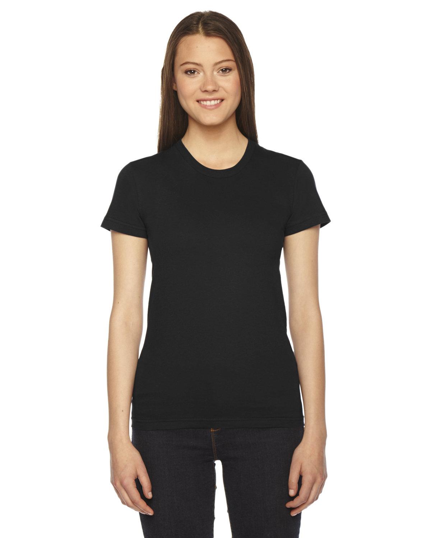 American Apparel Ladies' Fine Jersey USA Made Short-Sleeve T-Shirt BLACK