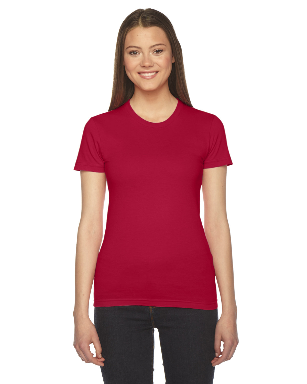 American Apparel Ladies' Fine Jersey USA Made Short-Sleeve T-Shirt RED