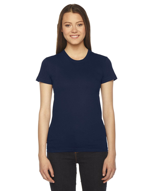 American Apparel Ladies' Fine Jersey USA Made Short-Sleeve T-Shirt NAVY