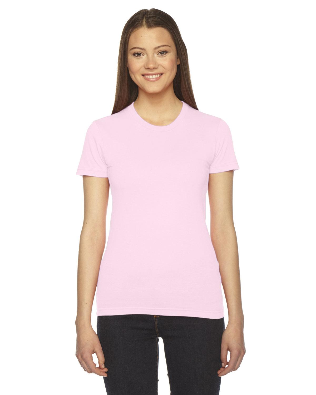 American Apparel Ladies' Fine Jersey USA Made Short-Sleeve T-Shirt LIGHT PINK