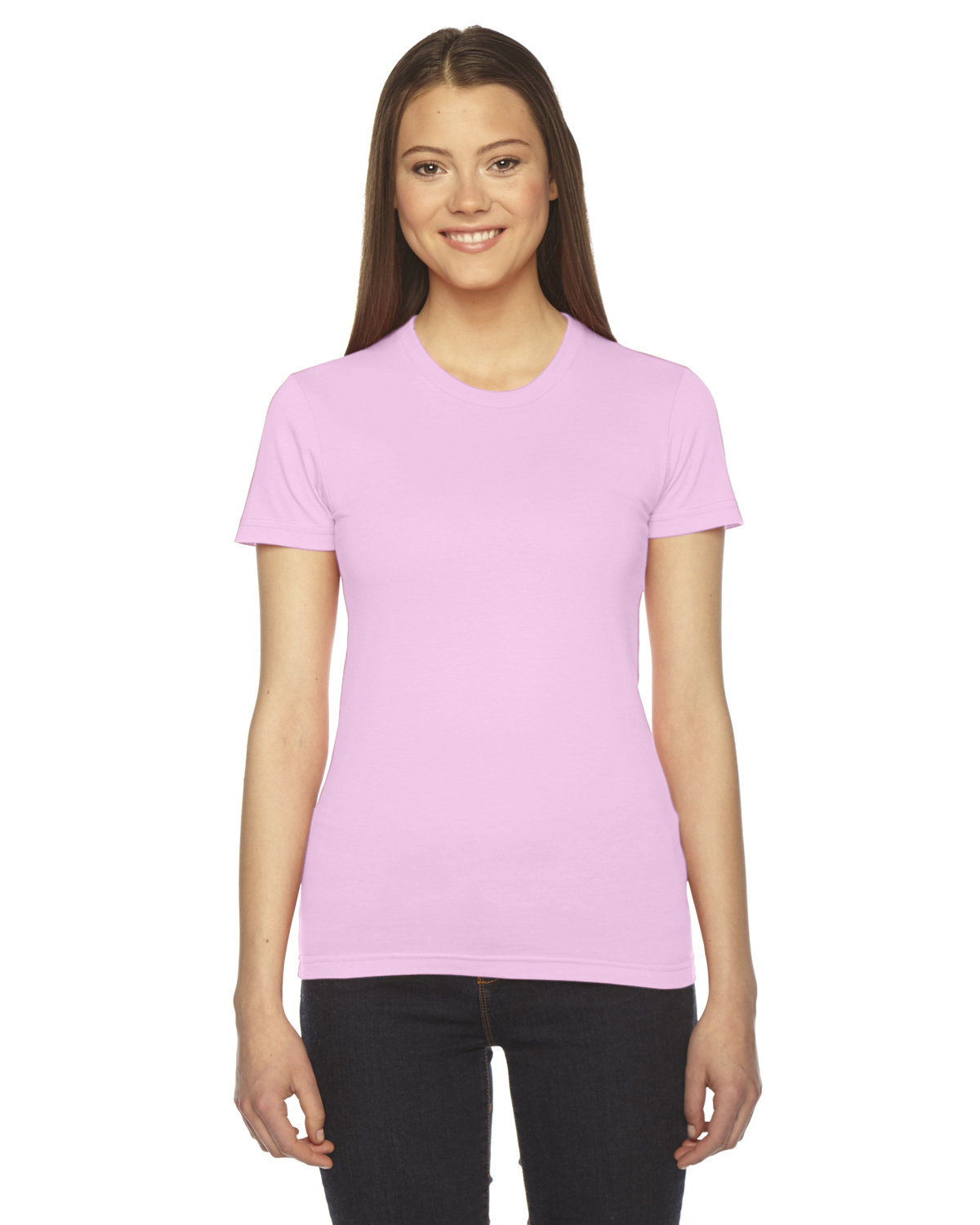 American Apparel Ladies' Fine Jersey Short-Sleeve T-Shirt LIGHT PINK