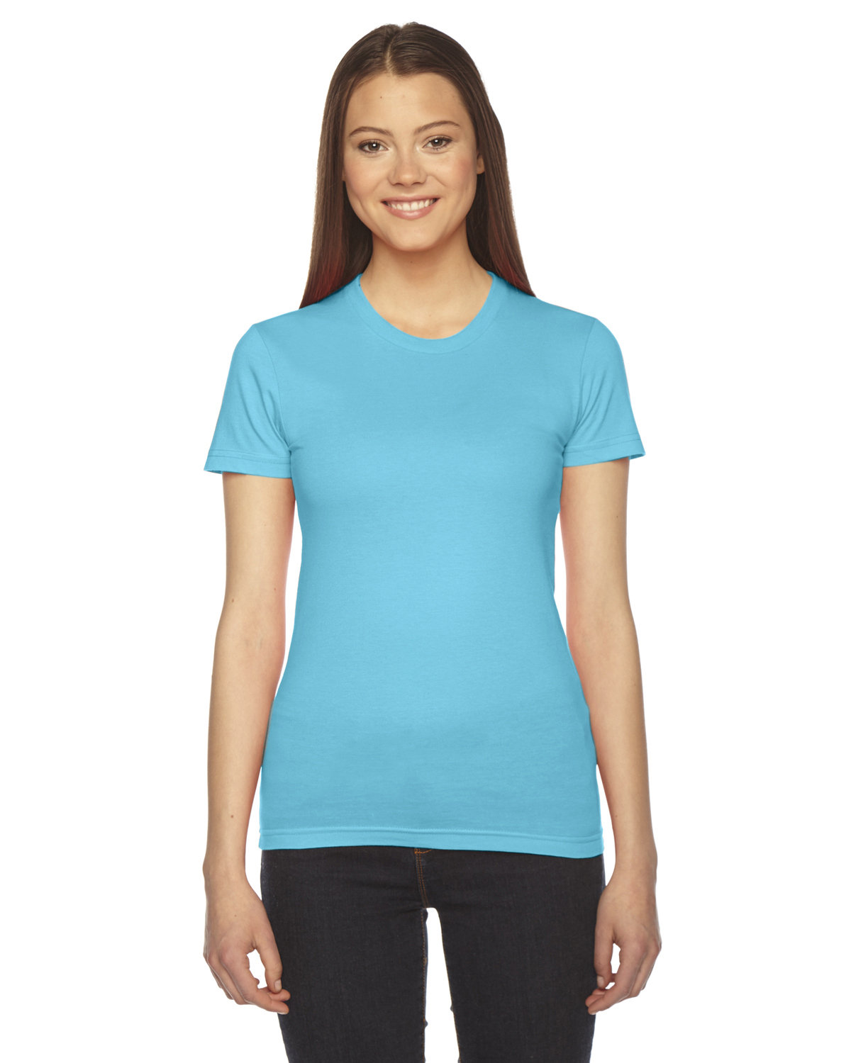 American Apparel Ladies' Fine Jersey Short-Sleeve T-Shirt TURQUOISE