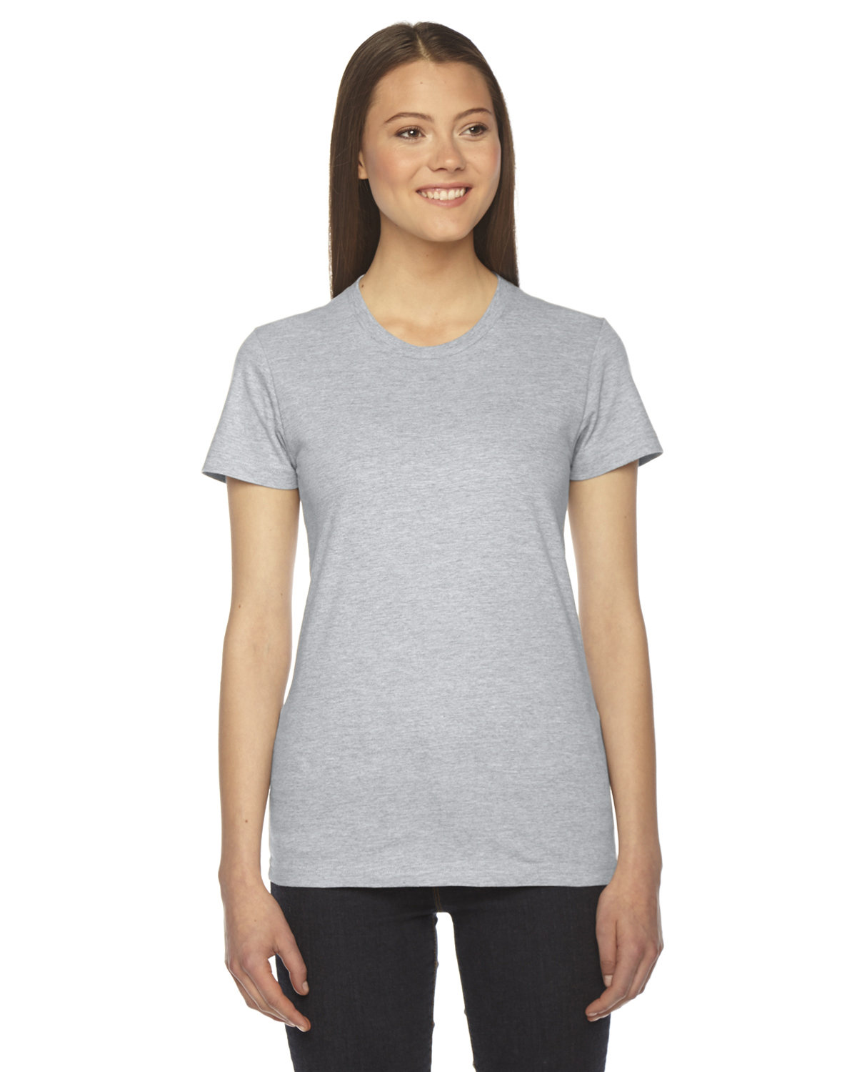American Apparel Ladies' Fine Jersey Short-Sleeve T-Shirt HEATHER GREY