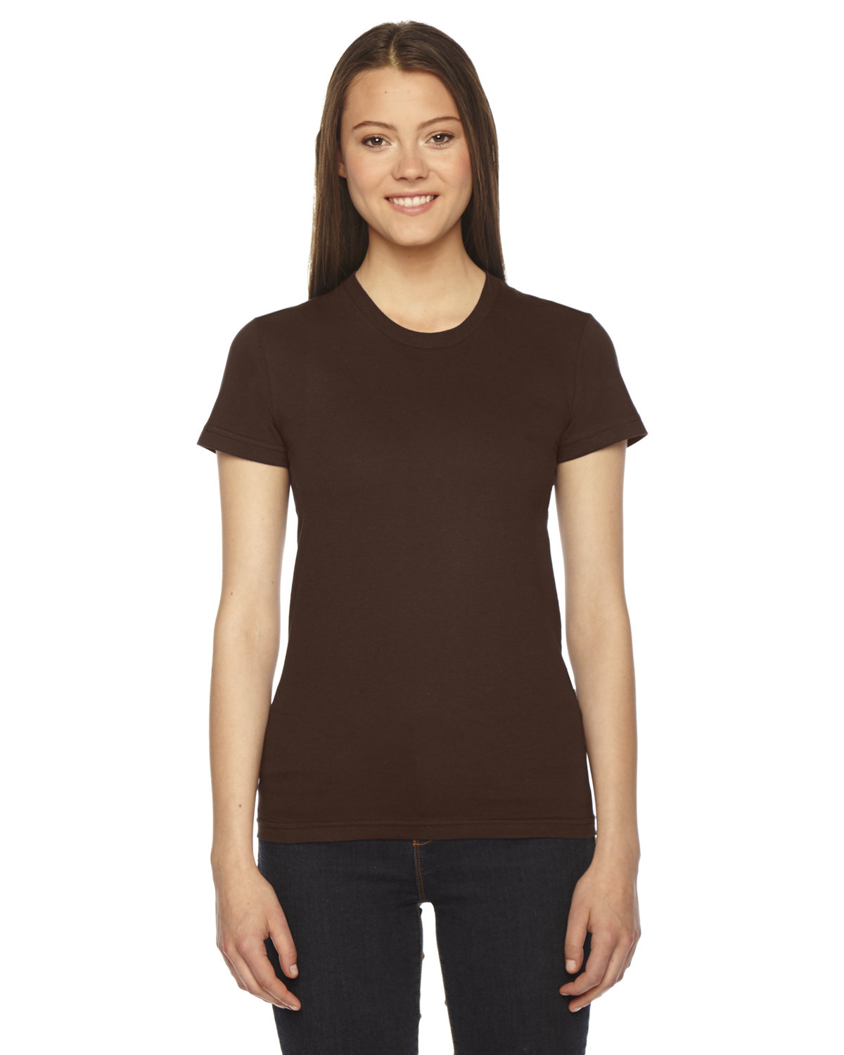 American Apparel Ladies' Fine Jersey Short-Sleeve T-Shirt BROWN