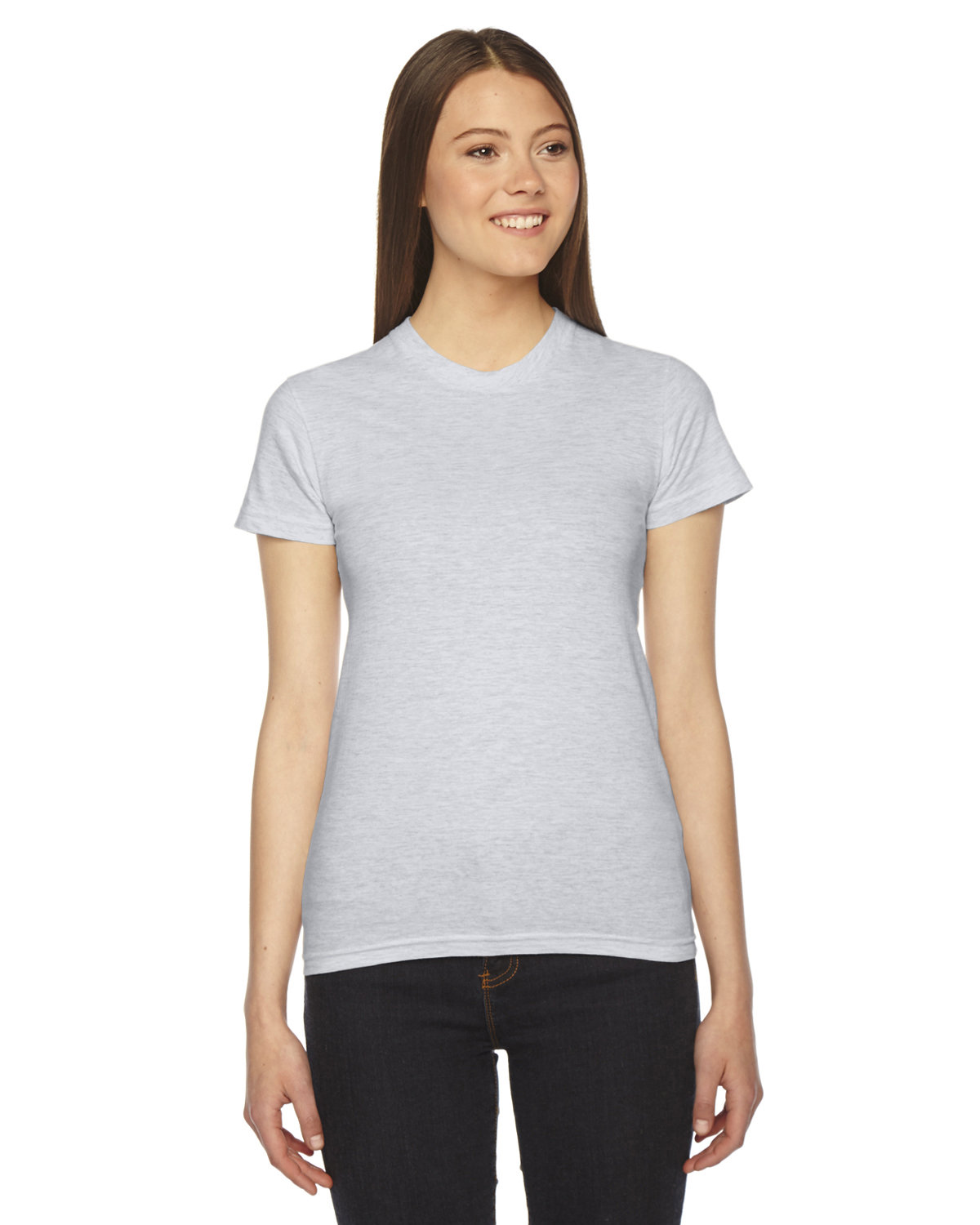 American Apparel Ladies' Fine Jersey Short-Sleeve T-Shirt ASH GREY