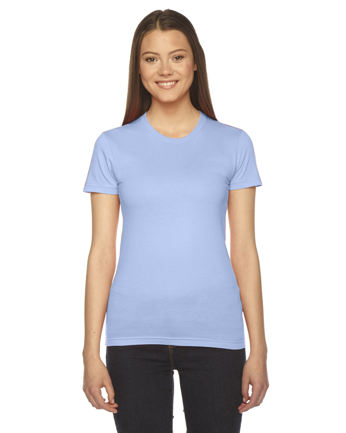 American Apparel Ladies' Fine Jersey Short-Sleeve T-Shirt BABY BLUE