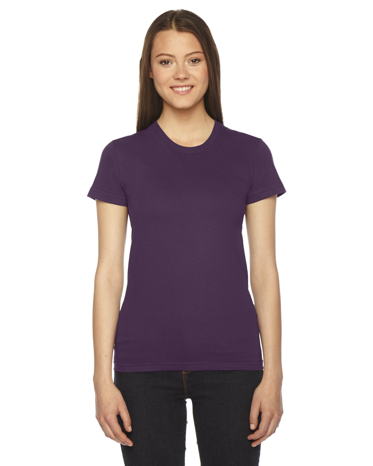 American Apparel Ladies' Fine Jersey Short-Sleeve T-Shirt EGGPLANT