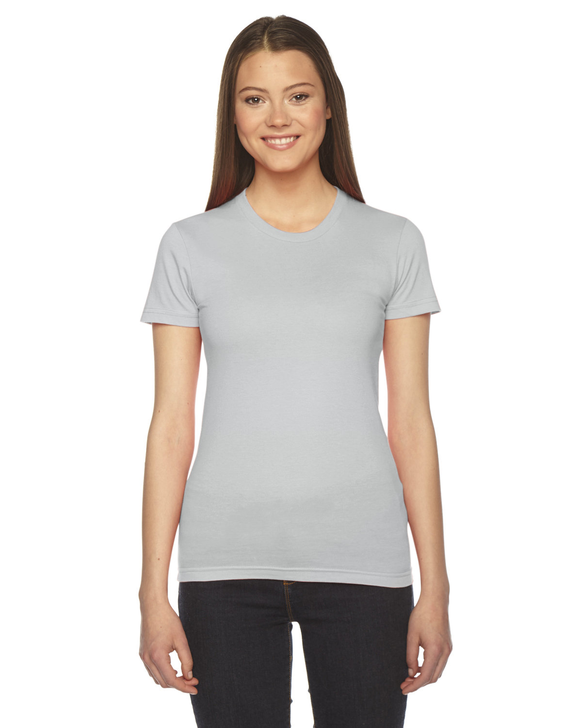 American Apparel Ladies' Fine Jersey Short-Sleeve T-Shirt NEW SILVER