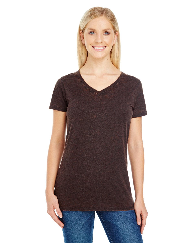 Threadfast Apparel Ladies' Cross Dye Short-Sleeve V-Neck T-Shirt FLAME
