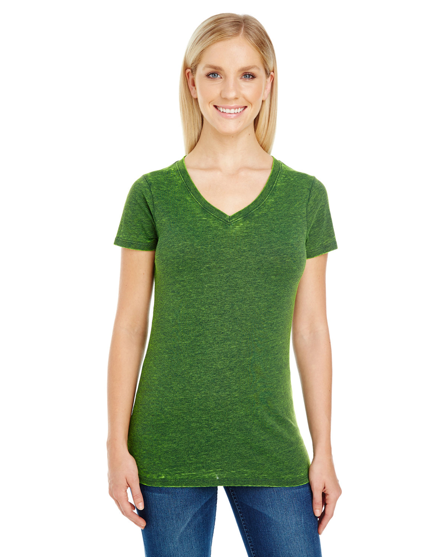 Threadfast Apparel Ladies' Cross Dye Short-Sleeve V-Neck T-Shirt EMERALD
