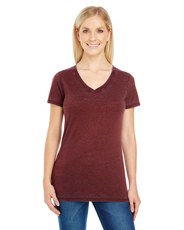 Threadfast Apparel Ladies' Cross Dye Short-Sleeve V-Neck T-Shirt BLACK CHERRY