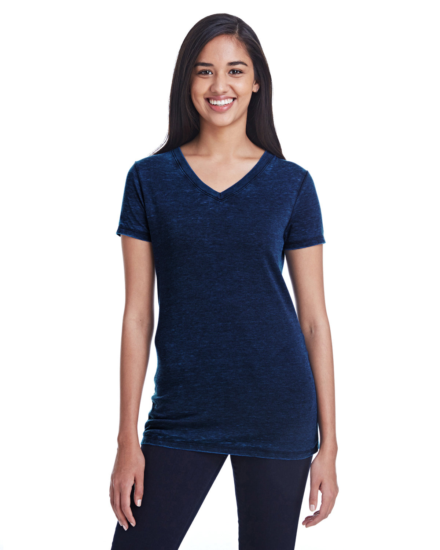 Threadfast Apparel Ladies' Cross Dye Short-Sleeve V-Neck T-Shirt ELECTRIC BLUE
