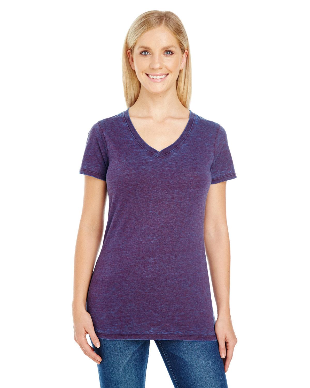 Threadfast Apparel Ladies' Cross Dye Short-Sleeve V-Neck T-Shirt BERRY