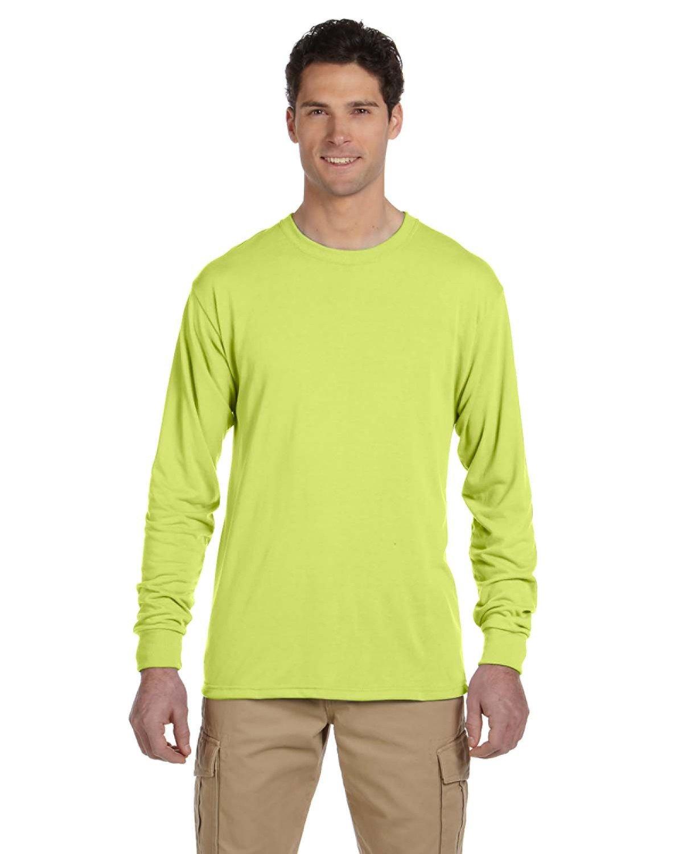 Jerzees Adult DRI-POWER® SPORT Long-Sleeve T-Shirt SAFETY GREEN