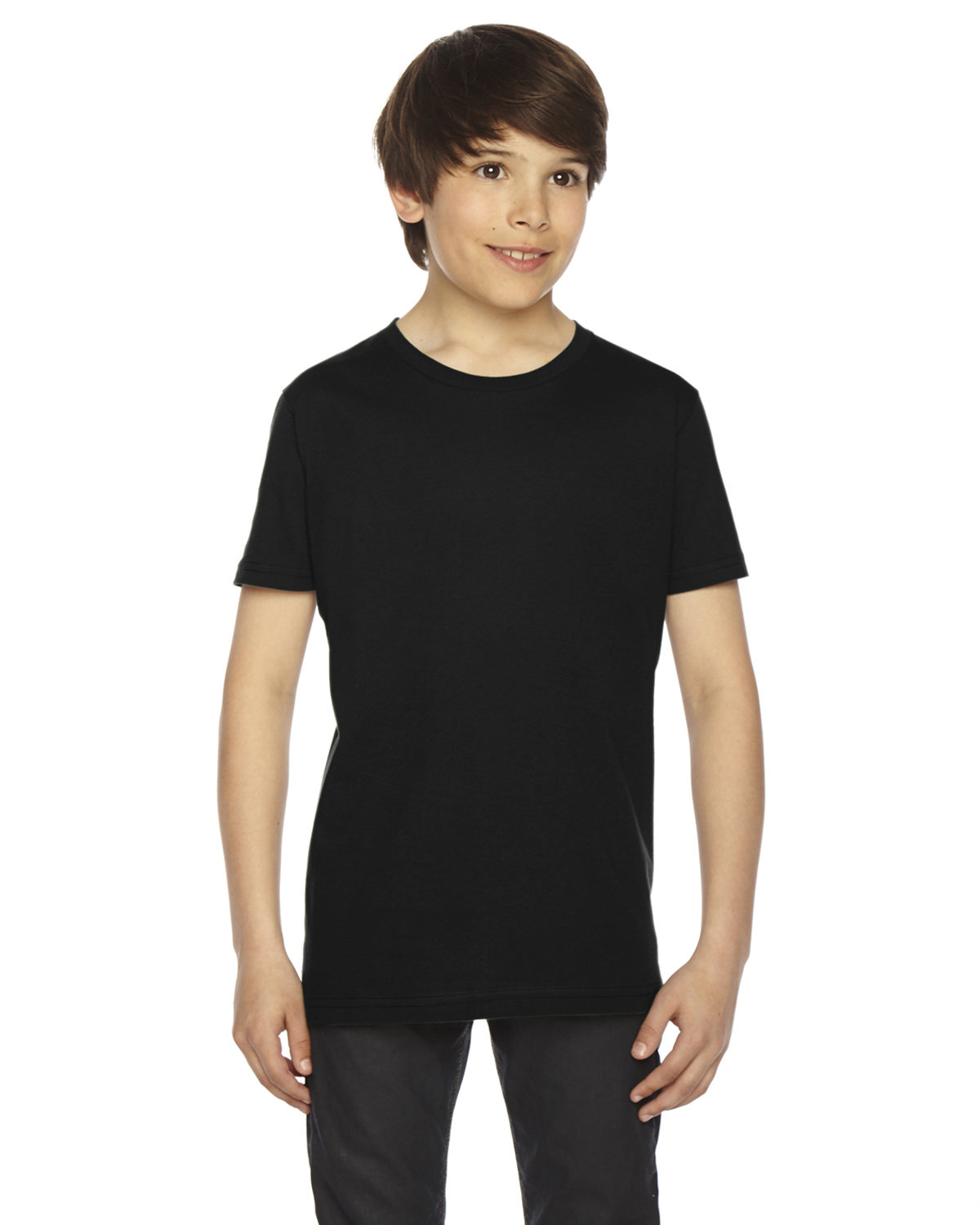 American Apparel Youth Fine Jersey USA Made Short-Sleeve T-Shirt BLACK