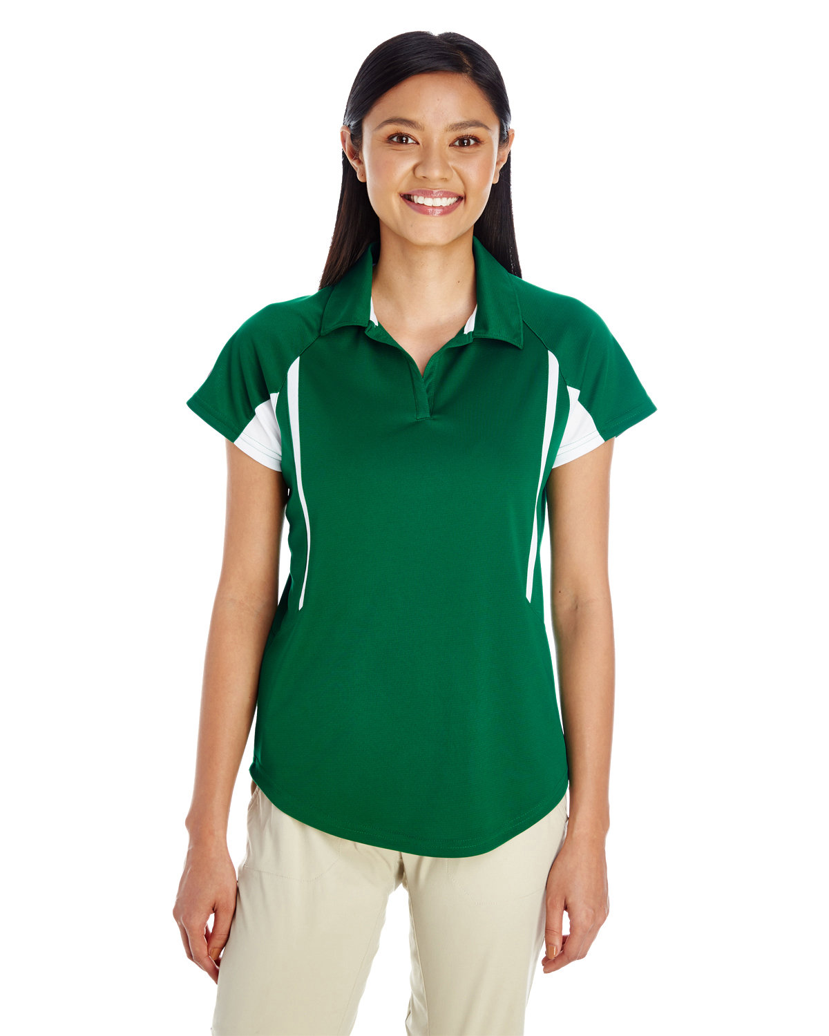 Holloway Ladies' Avenger Polo FOREST/ WHITE