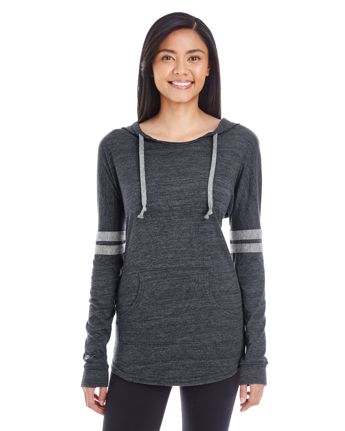 Holloway Ladies' Hooded Low Key Pullover VIN BLK/ VIN GRY