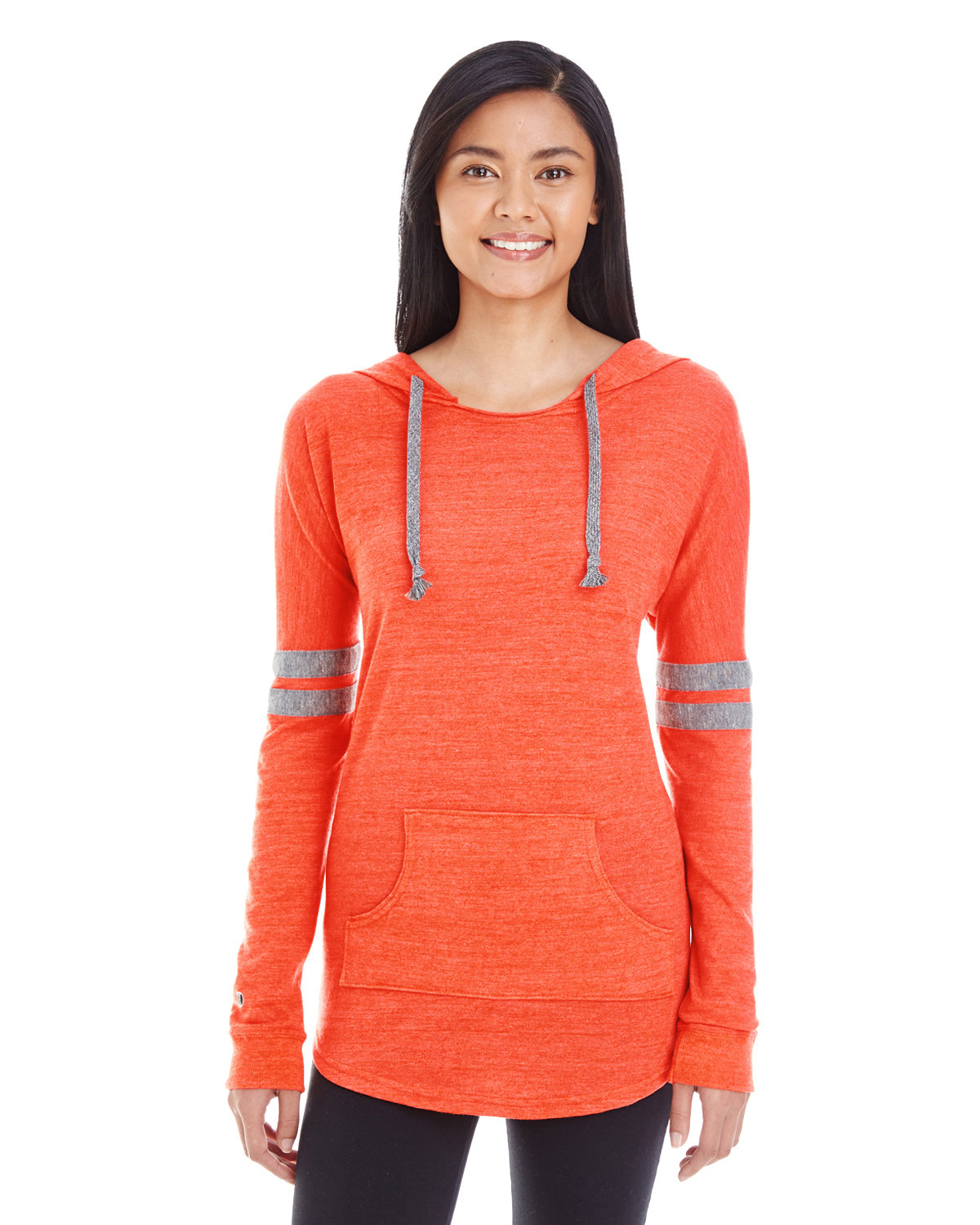 Holloway Ladies' Hooded Low Key Pullover VIN ORNG/ VN GRY