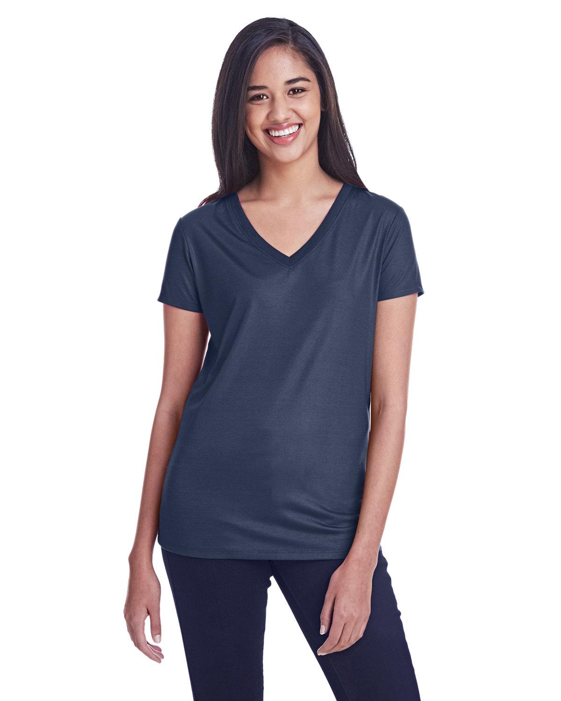Threadfast Apparel Ladies' Liquid Jersey V-Neck T-Shirt LIQUID NAVY