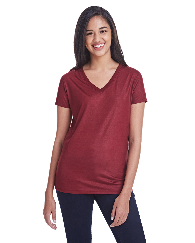 Threadfast Apparel Ladies' Liquid Jersey V-Neck T-Shirt LIQUID CARDINAL
