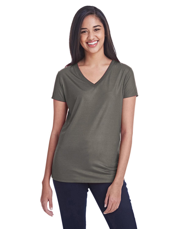 Threadfast Apparel Ladies' Liquid Jersey V-Neck T-Shirt LIQUID COAL