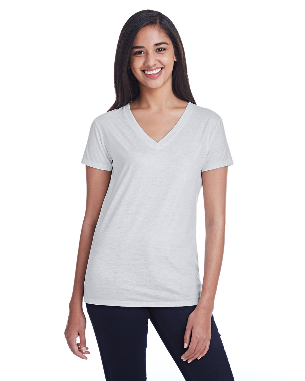 Threadfast Apparel Ladies' Liquid Jersey V-Neck T-Shirt LIQUID SILVER