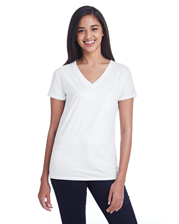 Threadfast Apparel Ladies' Liquid Jersey V-Neck T-Shirt LIQUID WHITE