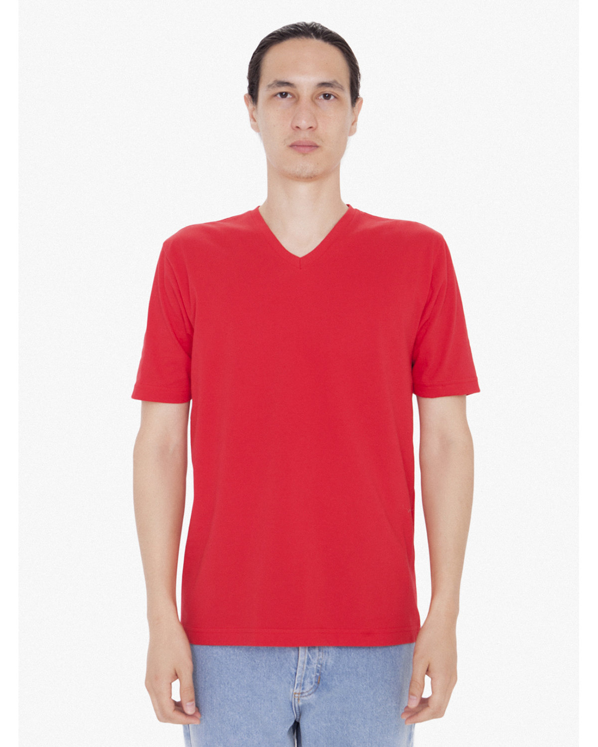 American Apparel Unisex FINE JERSEY SHORT SLEEVE CLASSIC V-NECK RED
