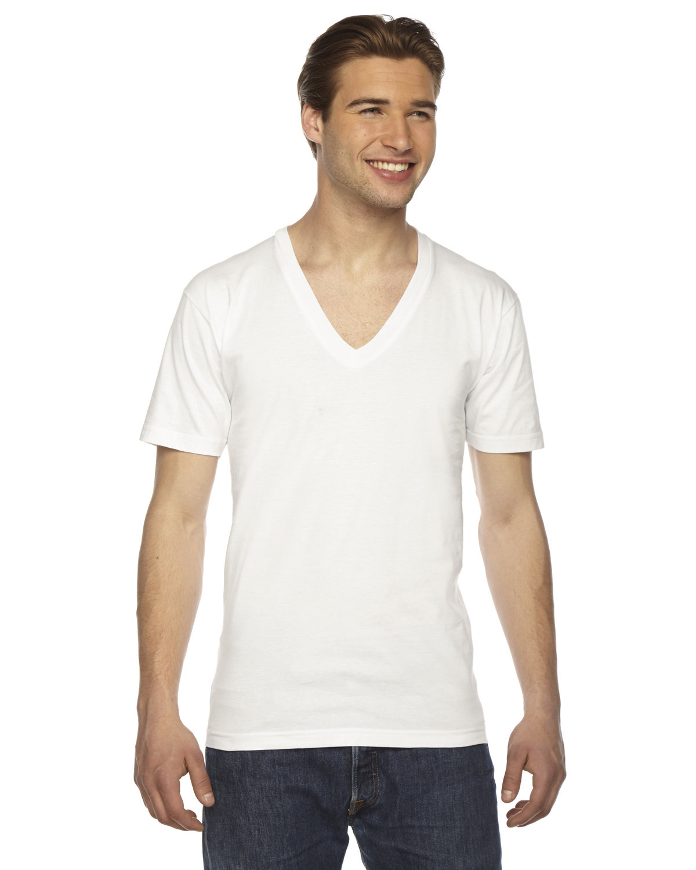 American Apparel Unisex USA Made Fine Jersey Short-Sleeve V-Neck T-Shirt WHITE