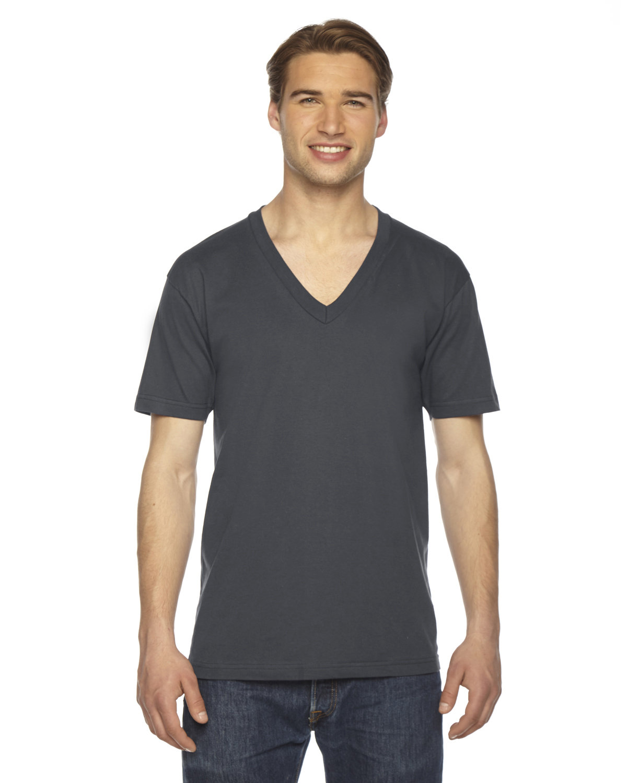 American Apparel Unisex USA Made Fine Jersey Short-Sleeve V-Neck T-Shirt ASPHALT