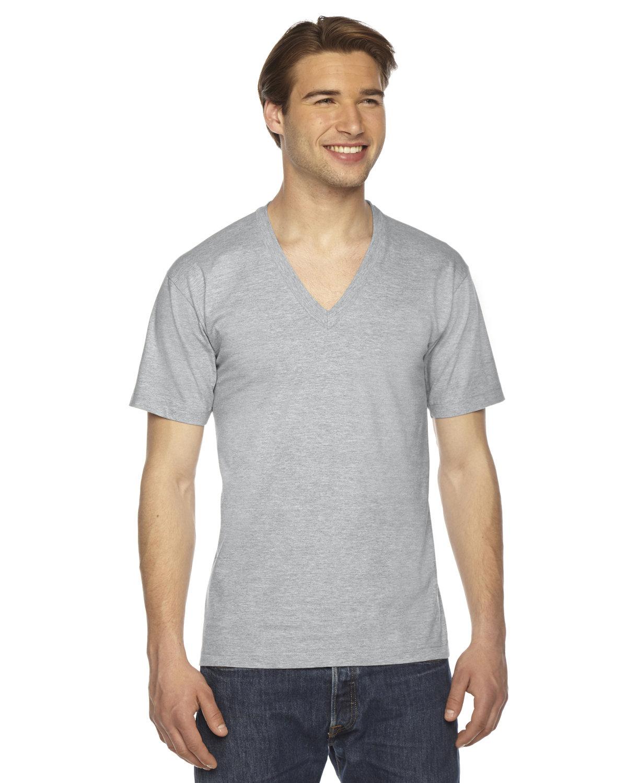 American Apparel Unisex USA Made Fine Jersey Short-Sleeve V-Neck T-Shirt HEATHER GREY