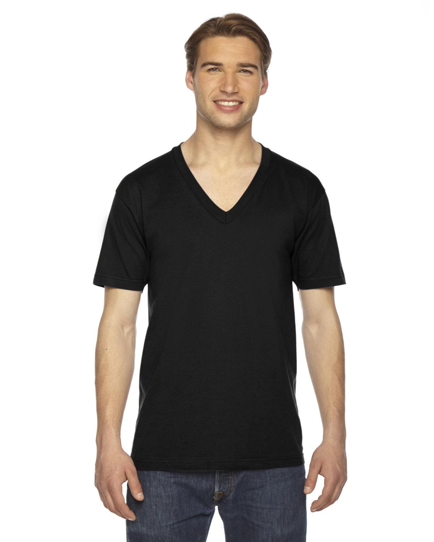 American Apparel Unisex USA Made Fine Jersey Short-Sleeve V-Neck T-Shirt BLACK
