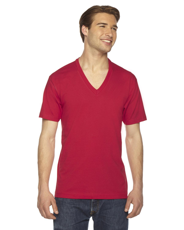 American Apparel Unisex USA Made Fine Jersey Short-Sleeve V-Neck T-Shirt RED