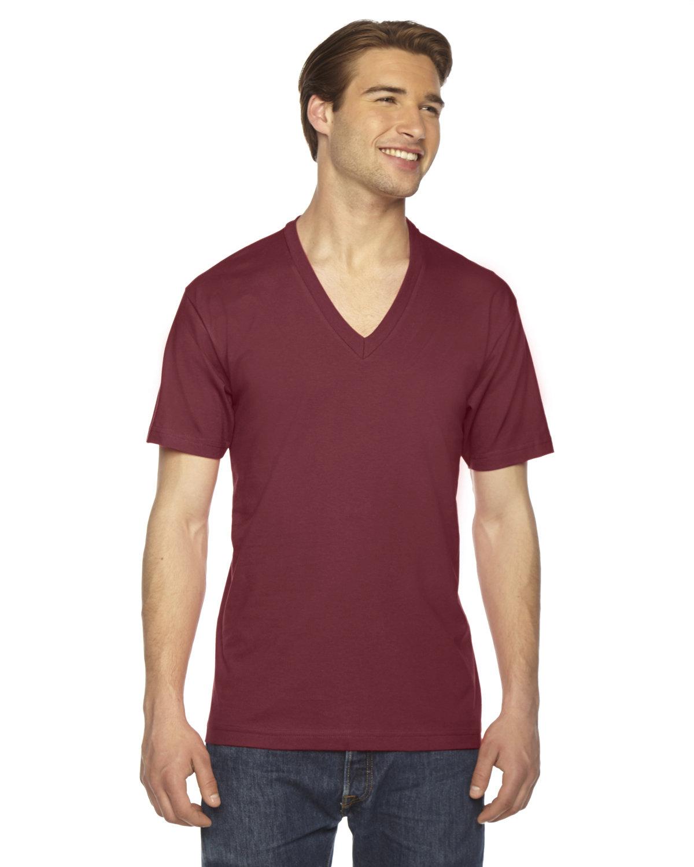 American Apparel Unisex USA Made Fine Jersey Short-Sleeve V-Neck T-Shirt CRANBERRY