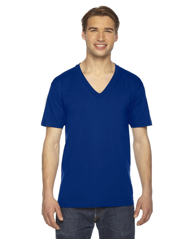 American Apparel Unisex USA Made Fine Jersey Short-Sleeve V-Neck T-Shirt LAPIS