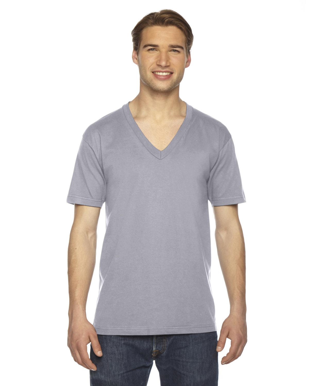 American Apparel Unisex USA Made Fine Jersey Short-Sleeve V-Neck T-Shirt SLATE