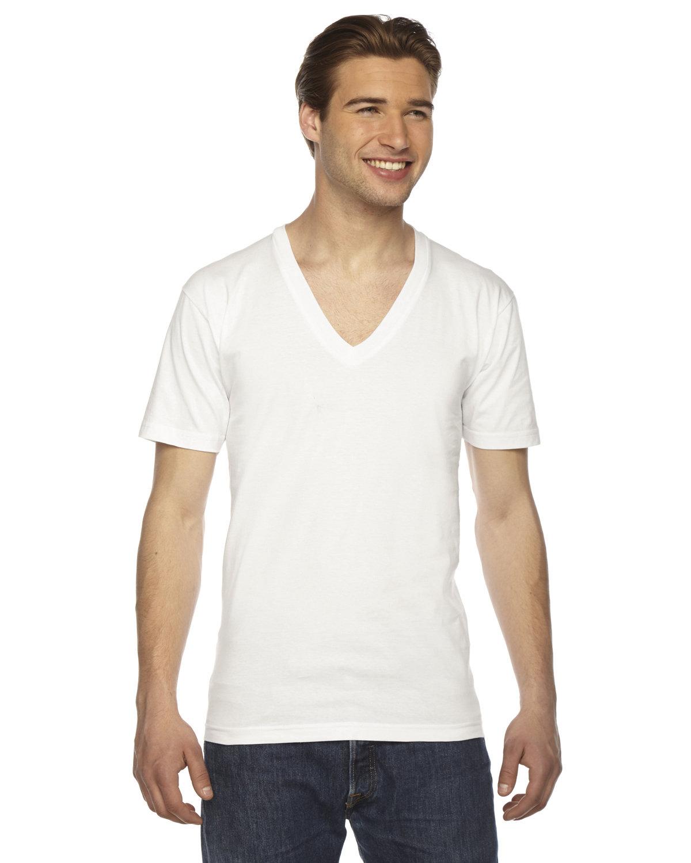 American Apparel Unisex Fine Jersey Short-Sleeve V-Neck T-Shirt WHITE
