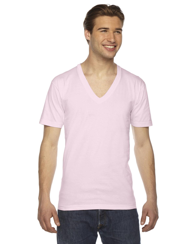 American Apparel Unisex Fine Jersey Short-Sleeve V-Neck T-Shirt LIGHT PINK