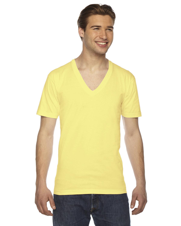 American Apparel Unisex Fine Jersey Short-Sleeve V-Neck T-Shirt LEMON