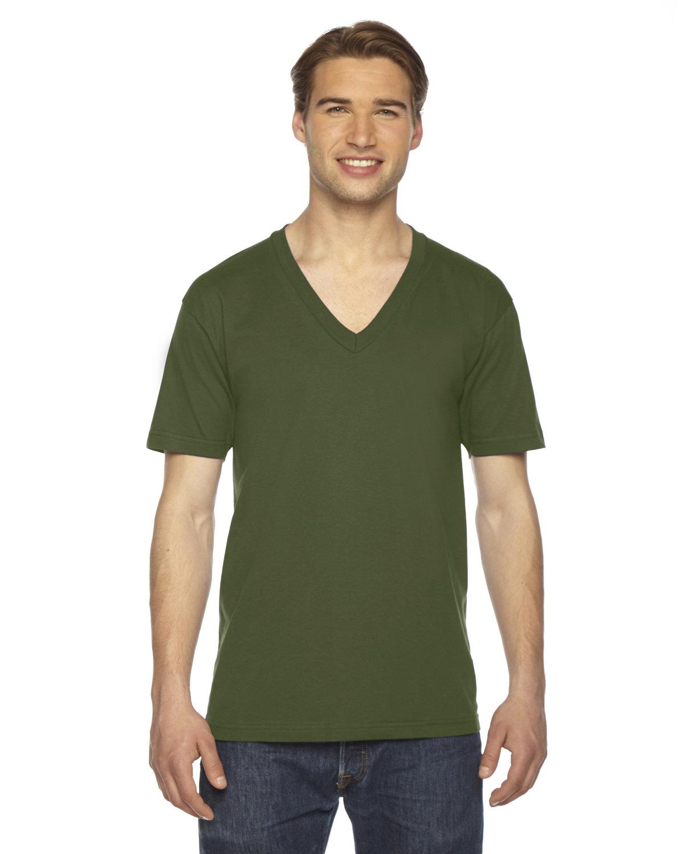 American Apparel Unisex Fine Jersey Short-Sleeve V-Neck T-Shirt OLIVE