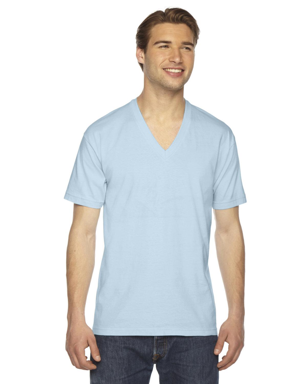 American Apparel Unisex Fine Jersey Short-Sleeve V-Neck T-Shirt LIGHT BLUE
