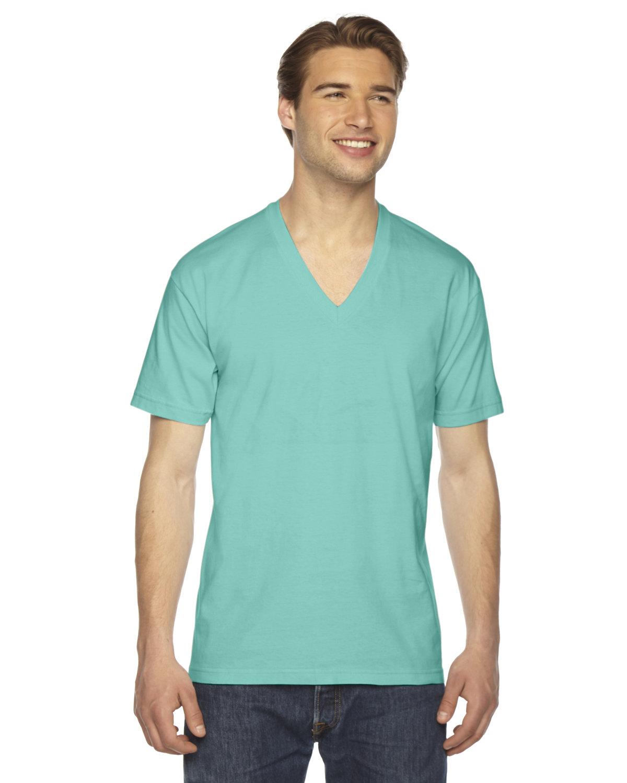 American Apparel Unisex Fine Jersey Short-Sleeve V-Neck T-Shirt MINT