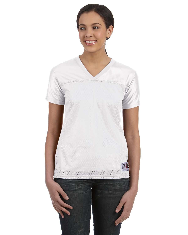 Augusta Sportswear Ladies' Junior Fit Replica Football T-Shirt WHITE