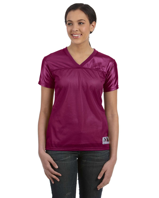 Augusta Sportswear Ladies' Junior Fit Replica Football T-Shirt MAROON